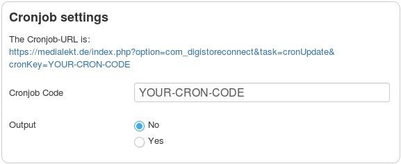 en digistore connect cronjob settings
