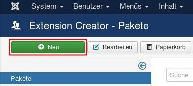 de extension creator neues paket