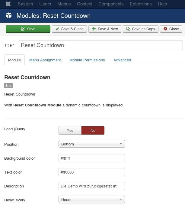 en reset countdown module settings