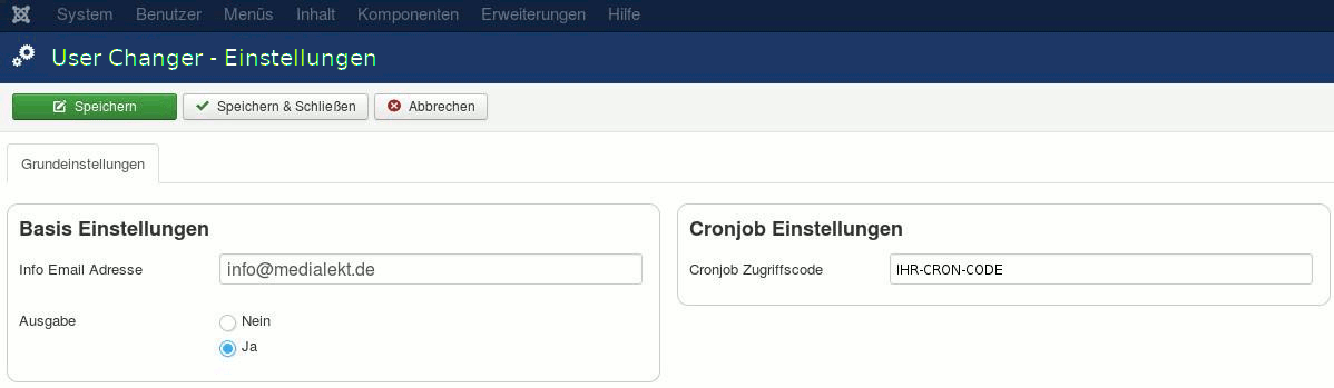 de user changer einstellungen cronjob